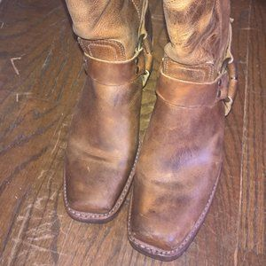 FRYE Brown distressed leather motorcycle boots